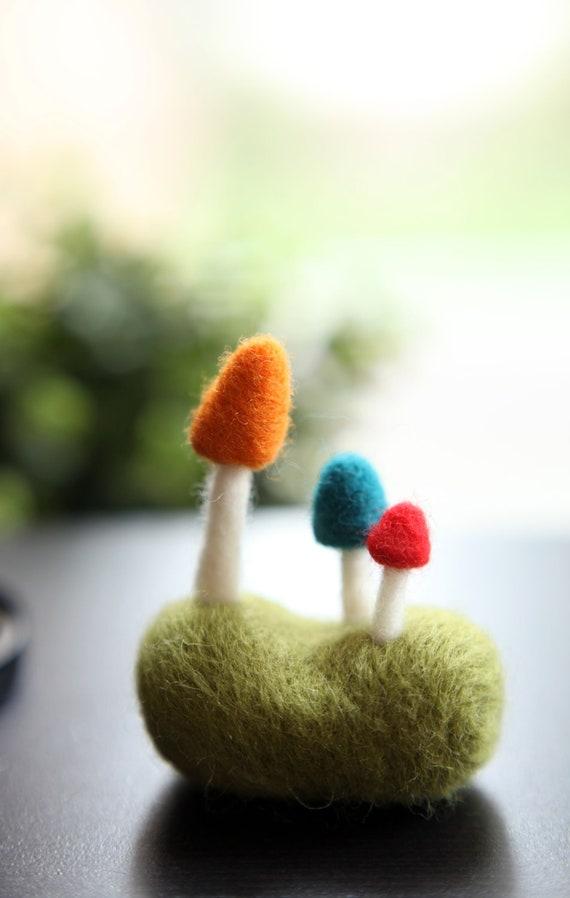 Needle Felted Mushroom on the Grassland Handmade - Home Decor
