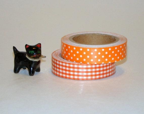 Halloween Fabric Tape Roll 2 Set Orange & White Polka Dots Gingham Deco