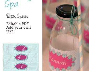 Pacific Beauty Spa Bottle Labels (for small retro milk bottles or similar) - editable pdf
