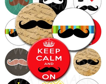 99 Cent Sale - Mustaches - Digital Collage Sheet  - 2.25 inch Round Circles - INSTANT DOWNLOAD