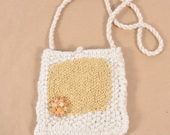 White and Gold Hand Knit Shoulder Bag Purse - Milk and Honey