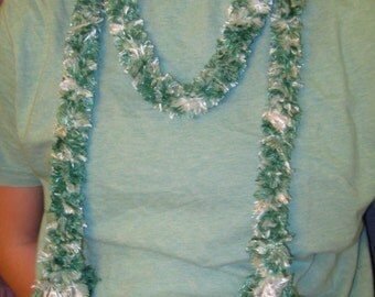 BOA EYELASH YARN Scarf  Can Be Worn as  Belt. Green and White and White with Orange Metalic