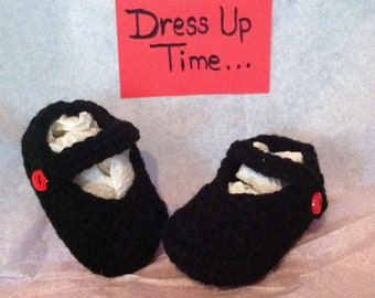 Crocheted Baby Girl Mary Jane Dress Up Shoes