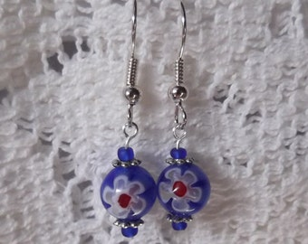 Blue and Red Flower Bead Earrings