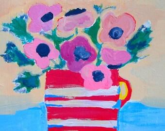 SALE  Original Acrylic flowers painting