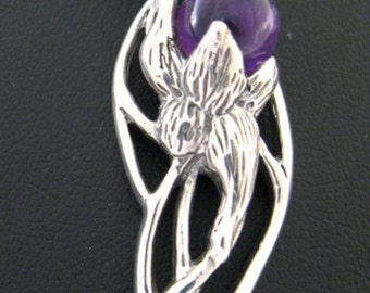 Hope, sterling silver pendant with amethyst