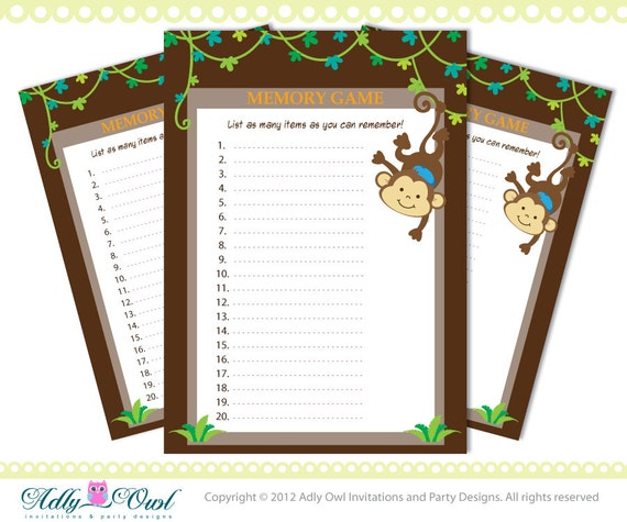 memory game boy monkey baby shower game printable for a boy baby