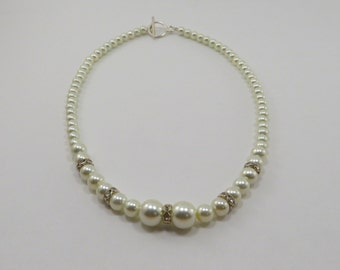 Handmade Cream Pearl and Crystal Necklace - READY TO SHIP - Everyday Jewelry - Classic Necklaces