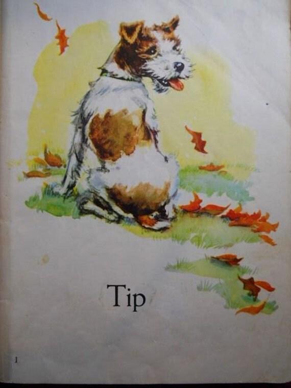 TIP, See Tip Run, 1949,  Old School Reading Book, NICE