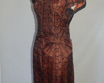 Vintage Bronze colour Satin 1950's dress with black sheer overlay with sheer C pattern and bow detail
