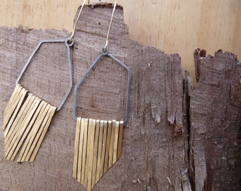 ANGLED FRINGE EARRINGS - Hammered Bronze and Steel Geometric Fringe Earrings