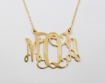 "Monogram necklace 1.25"" Personalized Necklace-Sterling silver 925 Plated 18k gold."