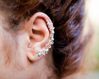 Big / Large Turquoise Bead Ear Cuff - Handmade. Tarnish Resistant. Hypoallergenic. Adjustable. In Gold, Silver, Copper / Rose Gold.