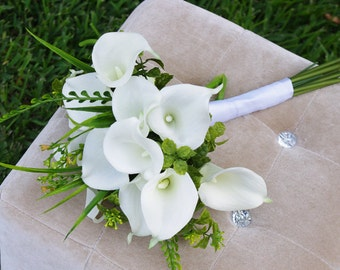 Natural Touch Calla Lilies Bouquet - Silk Wedding Off White Flowers