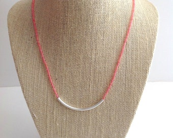 Coral necklace, minimalist necklace, bar necklace, delicate necklace, dainty necklace, beaded necklace, pink necklace