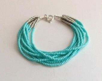 Turquoise bracelet, aqua bracelet, beaded bracelet, blue bracelet, seed bead bracelet, silver bracelet, beaded bracelet,bridesmaid gift