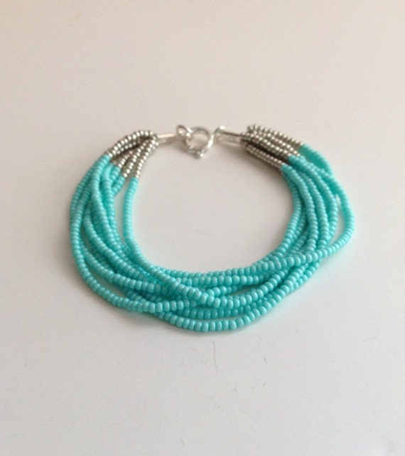 turquoise bracelet aqua bracelet beaded bracelet blue