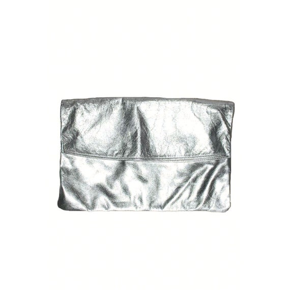 Silver Metallic Clutch / 80s Silver Clutch Purse