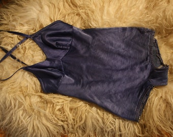 40's Swimsuit // Royal Blue Stretch Satin // Small