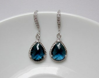 blue sapphire earring , silver bridesmaid earring , drop sapphire earring , sapphire dangle , bright blue earring