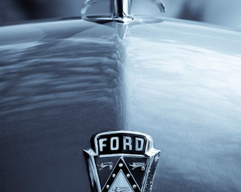 Ford Crestliner  - Classic Car Photography, Home Decor, Canvas Art, Art for guys, Toned black and white,  hood ornament, auto, garage art