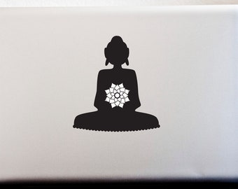 LAPTOP DECAL // Glowing Lotus Flower Buddha Peace Decal