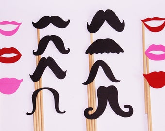 lips and mustache set / photo booth prop set / wedding booth props / photo booth signs