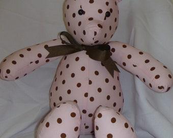 Pink and Brown Polka Dot Bear.