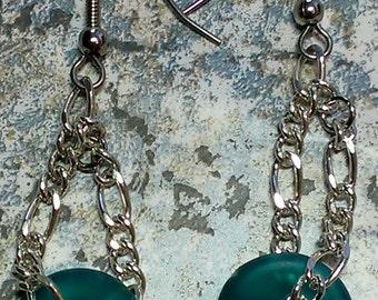 Aqua Marine Chain Earrings