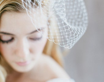 "Bridal Veil, Birdcage Wedding, Fascinator - ""Aimee"""