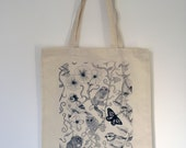 Eco friendly natural cotton shopper bag with wildlife design illustrated by myself