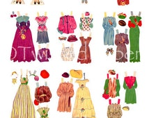 10 Pages of 1940's PAPER DOLLS, Actual Size, 20 Outfits with Accessories and 2 Different Paper Dolls, Digital & Printable Collection 2