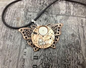 Bronze BUTTERFLY -Steampunk jewelry-necklace