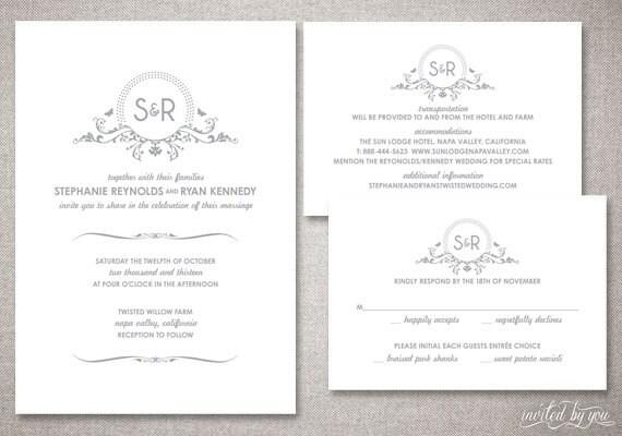 monogramm stephanie hochzeit einladungen suite, Einladung