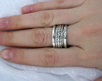 Wide sterling silver spinner ring. Triple braid ring. Unisex spinner ring. Braided spinner ring. gift for him. (sr-9609-565-564-515-516)