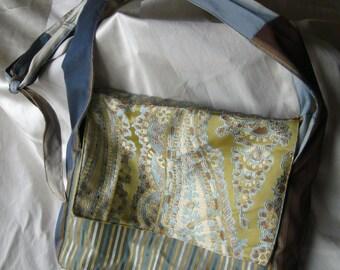 Gold and Blue Patchwork Messenger Bag