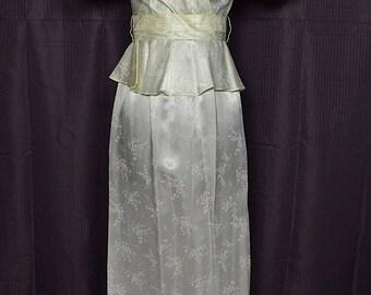 Vintage 1980s Pouf Sleeves & Peplum Waist Ivory Dress