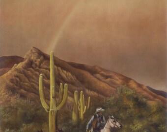 Journey Back to the Ranch, fine art giclee reproduction, western art, cowboy, horses, original oil, Glenda Okiev