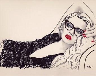 "Fashion Illustration, Modern Art Print, ""Million Dollar Baby"", Pen And Ink Drawing, Digital Print"
