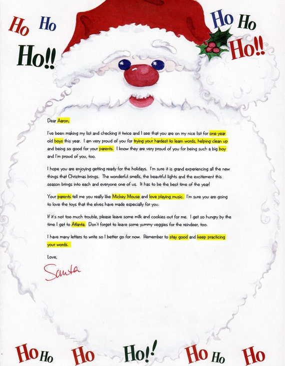 Custom letter from santa personalized letter from santa personalized letter from santa yifan hu on etsy personalized spiritdancerdesigns Choice Image
