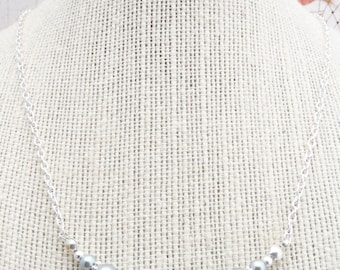 50% OFF Necklace, Silver and Grey pearl graduated necklace: 2