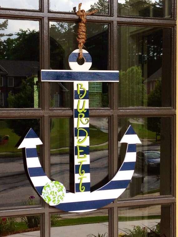 Front door summer anchor decoration hanger by knockinonwood for Anchor door decoration