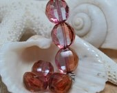 SALE! czech glass - two way faceted rounds - light peach - 12mm - 5pcs NBCMIS075