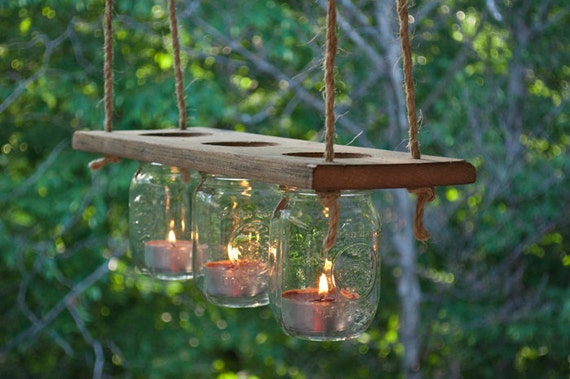 Mason Jar and Wood Candle Chandelier – Candle Chandelier Outdoor