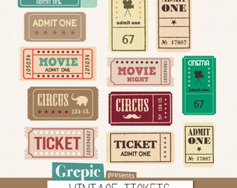 "SALE 50% Tickets clipart pack: ""VINTAGE TICKETS"" with movie tickets, circus tickets, admit one tickets for scrapbooking, cards, in"