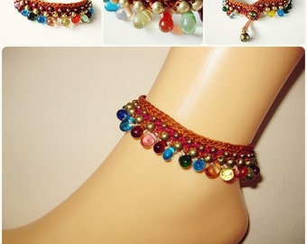 Colorful Bubble Beads with Brass Beads Anklet Waxed Cotton Cord Bohemian Handmade Thailand Jewelry. JA1012