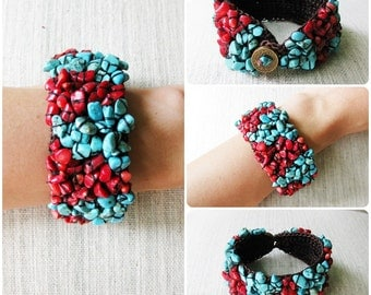 Turquoise and Red Stones Bracelet Handmade Cuff Crochet Wax String Jewelry. JB1003