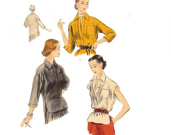 3/4 Sleeve Blouse or Overblouse Vogue 1950's Pattern 7791 Circa 1950 - Bust 30