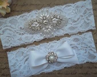 ELLA Style A-Bridal Garter Set, Wedding Garter Set, Ivory Lace Garter, Ivory Garter Set, Bridal Accessories