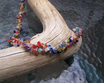 Multi-colour Stone Chip Crochet Wire Necklace